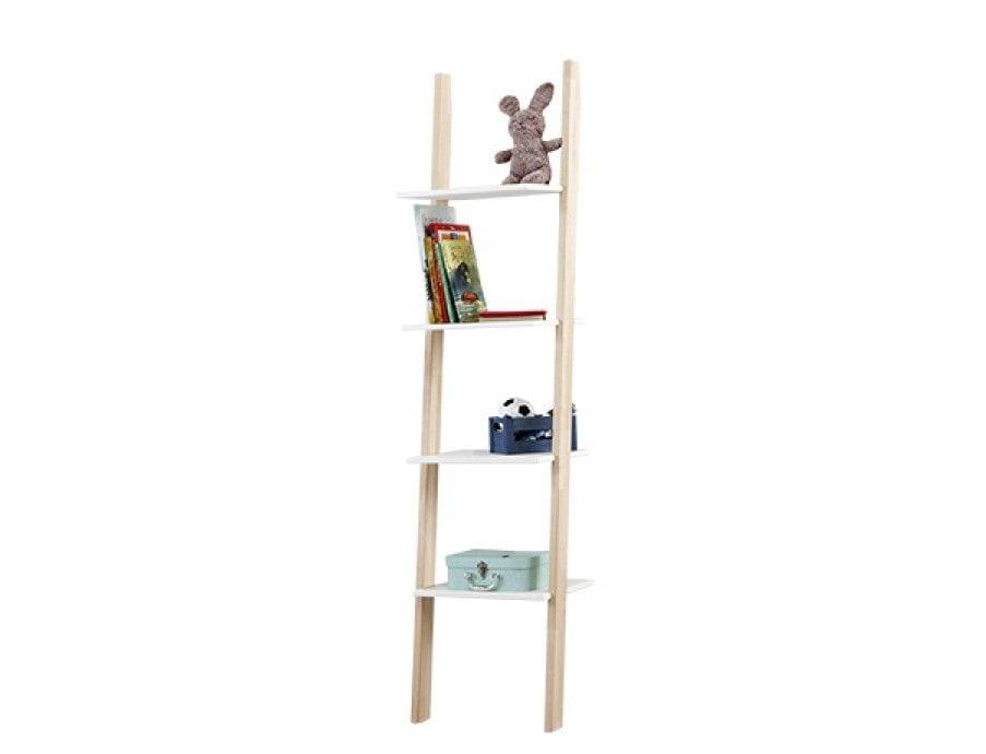 LIFETIME boekenkast 4 vaks trap berken/wit | Bedderie.nl